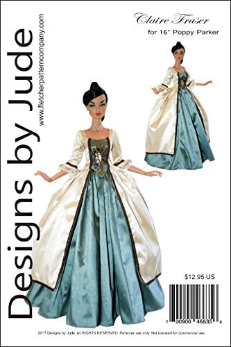"""Outlander Claire Dress Doll Clothes Sewing Pattern for 16/"""" Tyler Dolls Tonner"""