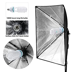 "CRAPHY 700W 5500K Photography Studio Soft Box Lighting Kit Continuous Light Equipment for Portrait Video Shooting (20x28"" Softbox + 80"" Tall Light Stand + Carrying Bag)"
