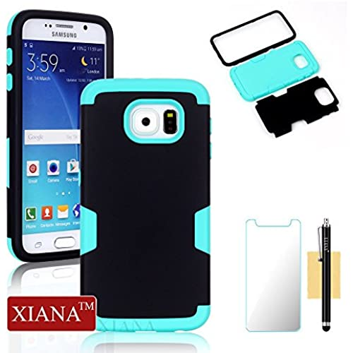 Galaxy S7 Case,XIANA Shockproof Hybrid Rubber Combo Silicone & PC Case Back Cover 3 in 1 for Samsung Galaxy S7 with Stylus, Screen Protector-(Black+Mint) Sales