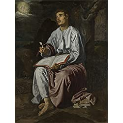 Oil painting 'Diego Velizquez Saint John the Evangelist on the Island of Patmos ' printing on Perfect effect canvas , 30 x 40 inch / 76 x 101 cm ,the best gift for bf and gf and Home decor and Gifts is this Reproductions Art Decorative Prints on Canvas