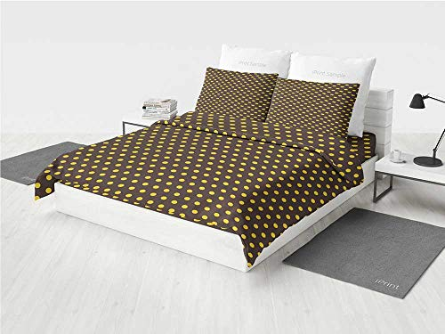 - Vintage Home Decor owl Crib Bedding Sets for Girls Pop Art 50s 60s Retro Design with Polka Dots Circles Image Decorative Printing Four Pieces of Bedding Set Dark Brown and Marigold