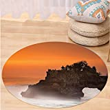 Kisscase Custom carpetBalinese Decor Temple Pura Tanah Lot Bali Indonesia Magical Romantic Sunset Exotic Holidays Bedroom Living Room Dorm Decor Orange Brown