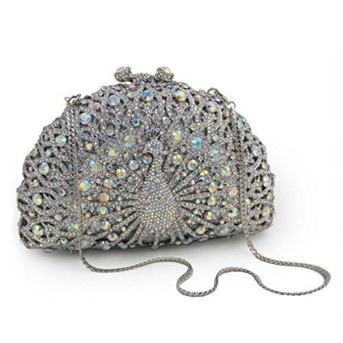 Clutches Donna Borsa Borsa Diamonds Banchetto Crystal Sera sera frizione Slive Peacock da borsa Glitter UZxqxTaw