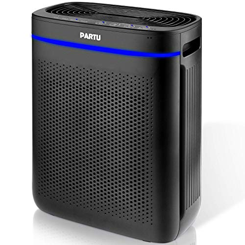 PARTU HEPA Air Purifier for Home, Large Room Up to 215ft² Smoke Air Purifier with Auto Mode, Smart Sensor, Lock Set…