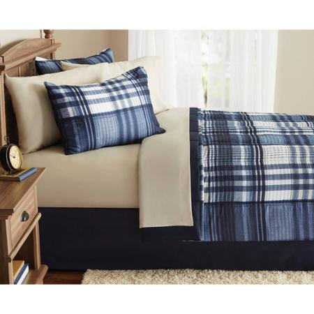 Mainstays Indigo Plaid Bed-in-a-Bag Complete Bedding Set, Twin