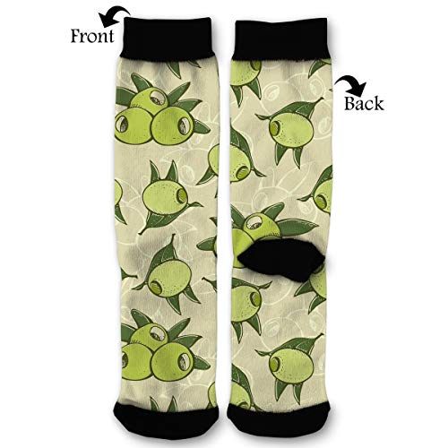 Green Olives Leafs Men & Women Casual Cool Cute Crazy Funny Athletic Sport Colorful Fancy Novelty Graphic Crew Tube Socks -