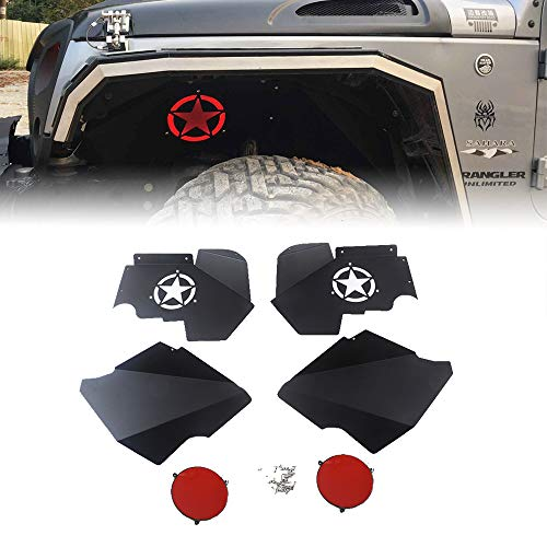 MAIKER Front Inner Fender Liners w/Light for 2007-2017 Jeep Wrangler JK 4WD Five Star logo Lightweight Aluminum Design Black