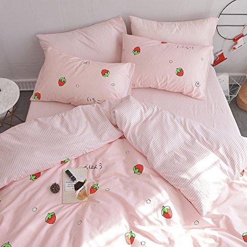 MICBRIDAL Kawaii Strawberry Bedding Set Queen Pink Soft 100/% Cotton Bedding Set for Girls Boys Women Japanese Strawberry Comforter Cover Set Full with Zipper 1 Strawberry Duvet Cover+2 Pillowcases