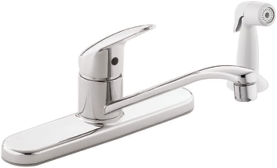 Cleveland Faucets CA40514 Cornerstone Single-Handle Kitchen Faucet with White Side Spray, Chrome