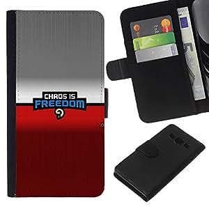 KLONGSHOP // Tirón de la caja Cartera de cuero con ranuras para tarjetas - Caos es la libertad - Samsung Galaxy A3 //