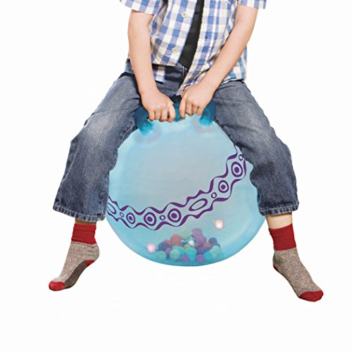 Ride On Bouncy Ball (B. toys - Hop n' Glow - Light-Up Bouncy Ball with Handle - Hopper Ball for Kids 3 years+ (Air Pump)