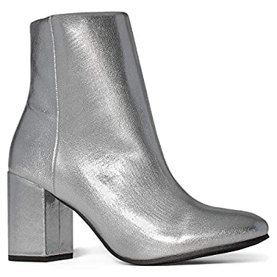 Women's Chunky Heeled Zip Closure Slim Fit Ankle Booties