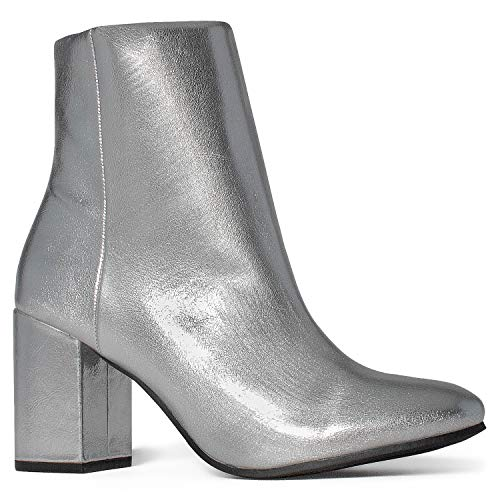 - Women's Round Toe Chunky Heeled Side Zip Slim Fit Ankle Booties Silver (7)