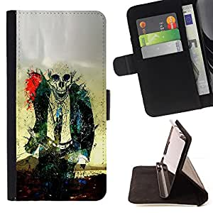 Zombie Skull Skeleton - Painting Art Smile Face Style Design PU Leather Flip Stand Case Cover FOR Sony Xperia M2 @ The Smurfs