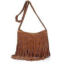 S-BBG(TM) Women Hobo Shoulder Bags Hippie Suede Crossbody Drawstring Fringed Purses