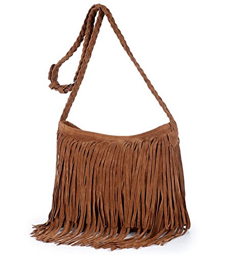 S-BBG(TM) Women Hobo Shoulder Bags Hippie Suede Crossbody Drawstring Fringed Purses Brown Hippie Suede Shoulder Bag