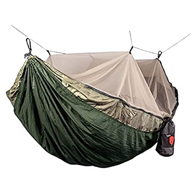 1-2 Person Outdoor Camping Hammock Hanging Relaxing Sleeping Bed With Mosquito Net Camping Hammock Strap Army Green Sleeping Bed Removing Obstruction Sleeping Bags