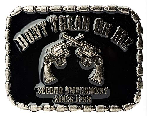 (SuperGifts 2nd amendment 2 revolvers with bullets belt buckle military army navy marines Air Force Guns Freedom)