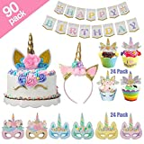 [90 Pack] Unicorn Party Supplies Including Gold Unicorn Cake topper, 24 Pack Unicorn Cup Cake Topper with Wrapper Headband Paper Mask and Happy Birthday Banner for Kids Unicorn Themed Party Decoration