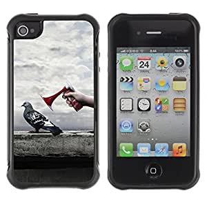 Hybrid Anti-Shock Defend Case for Apple iPhone 4 4S / Pigeon