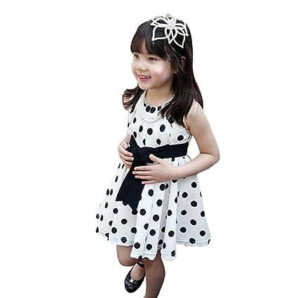 Vestido de fiesta de la princesa Koly Lunares Vestido para niñas (120, Blanco)