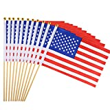 Coopay 25 Pack USA Stick Flag Hand Held Flags 5.5″ x 8″ Small American Nations Flag on Wood Stick with Gold Round Top,Party Decorations for 4th of July,Sports Clubs,Festival Events Celebration