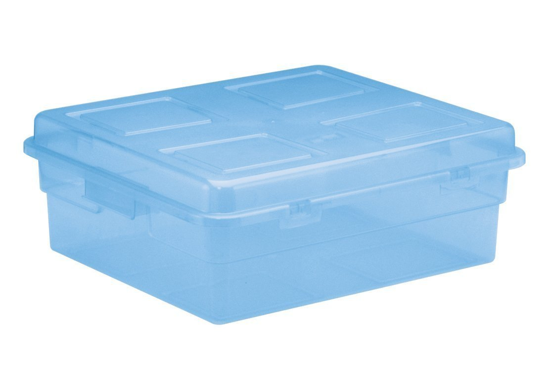 United Solutions TO0003 Blue Plastic Storage Box with Lid - Horizontal Plastic Organizing Bin and Lid in Tinted Blue