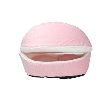 UEETEK Cama gato cueva cálido Nido para mascotas acogedor Casa de Perro (Rosa)