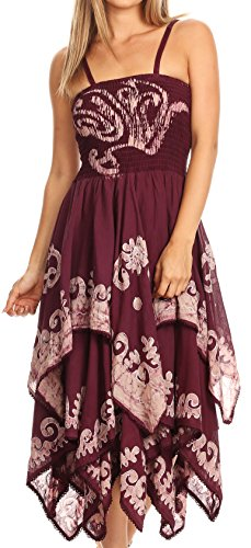 Sakkas 6631 Batik Smocked Bodice Handkerchief Hem Dress - Burgundy - One Size (Smock Dress Embroidered)