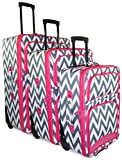 Ever Moda Chevron 3 Piece Luggage Set (Pink)