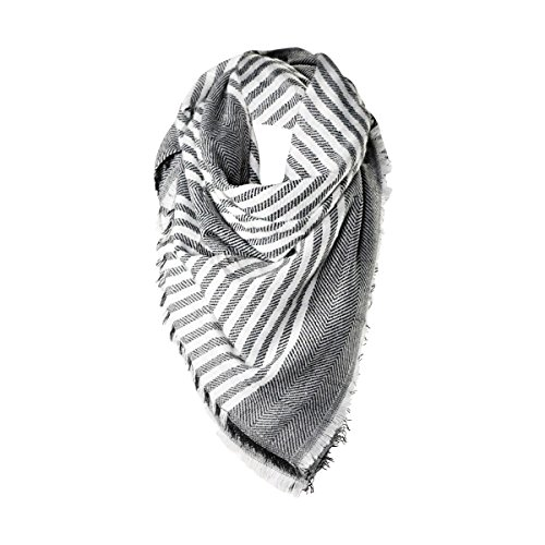 Classic Stripe Womens Scarf Funky Monkey Scarves Shawl Charcoal Gray & White