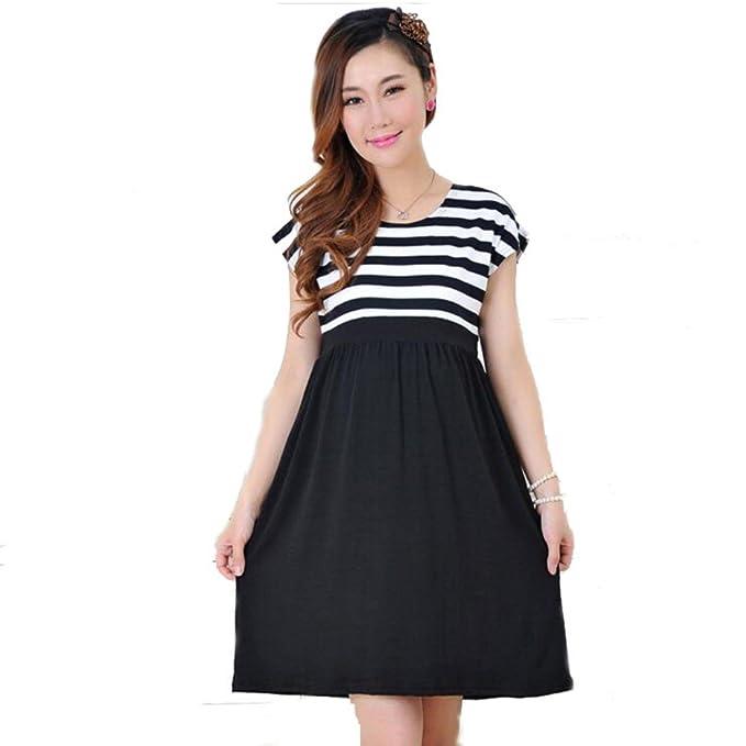 2fac505fa67 Amashz Maternity dress casual cotton maternity clothes plus size stripe  Pregnant (L