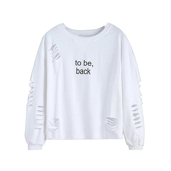 Mujeres Camiseta Con Manga Larga Escotado por Detrás Camisa Blusa T-shirt Blouses Pullover Sudadera: Amazon.es: Ropa y accesorios