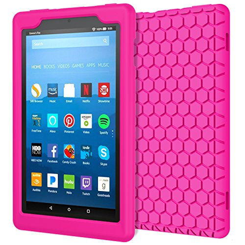 MoKo Case for All-New Amazon Fire HD 8 Tablet (7th Generation, 2017 Release Only) - [Honey Comb Series] Light Weight Shock Proof Soft Silicone Back Cover [Kids Friendly] for Fire HD 8, MAGENTA (Magenta Camera Case)