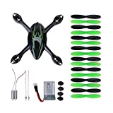 Kingtoys for Hubsan Crash Pack X4 H107c Quadcopter, Includes Body Shell, 8x Pair of Black and Green Propellers, Flight Battery, 4x Rubber Feet, 2x Motors, 2xled Lights, Black/green (Black+green)