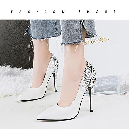 Printemps Et Automne Femmes Chaussures Serpentine Haute Talons Mode Pointu Haut Talons Discothèque De Mariage Bouche Peu Profonde Chaussures GAOLIXIA Blanc 5GofH