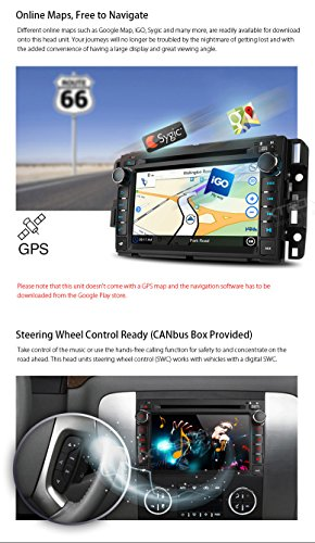 XTRONS 7 Inch Android 6.0 Octa-Core Capacitive Touch Screen Car Stereo Radio DVD Player GPS CANbus Screen Mirroring Function OBD2 Tire Pressure Monitoring for GMC Chevrolet by XTRONS (Image #6)