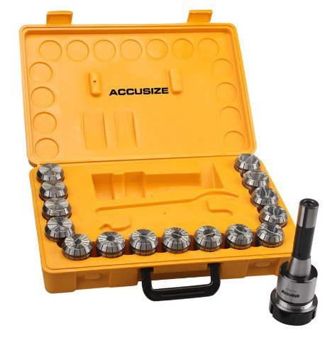 Accusize - R8 Shank + 15 Pcs ER40 Collet Set + Wrench in Fitted Strong Box, 0223-0984