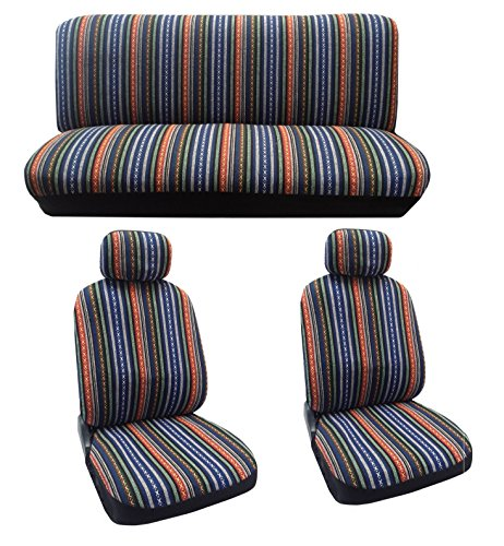 Baja Blue Saddle Blanket Seat Cover Set – 8pc Front Rear Headrests