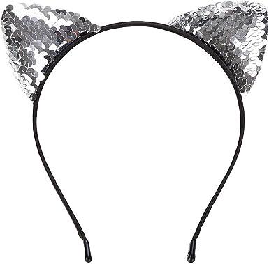 Sunenjoy Serre-t/ête Mignon Oreilles de Chat Sequin Bandeau Femme Fille Bande de Cheveux Festival Party Soir/ée