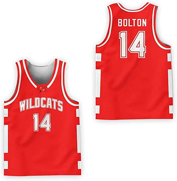 Zac E Troy Bolton 14 East High School Wildcats RedBasketball Jersey VN