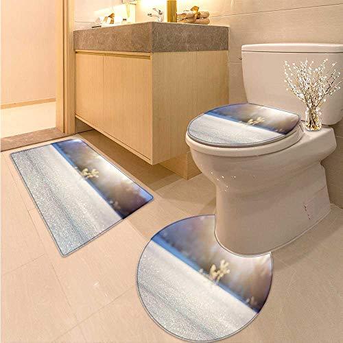 MikiDa 3 Piece Toilet mat Set Snowflake 3 Piece Shower Mat Set