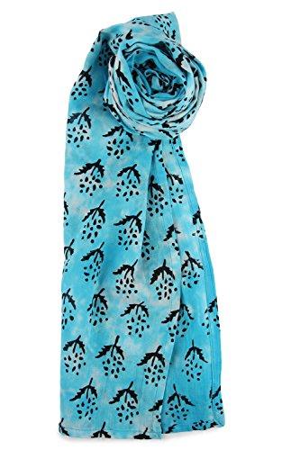 Lightweight Soft Voile Cotton Tie Dye Hand Block Print Hippie Head Scarf 55 X 180 cm Aqua Blue