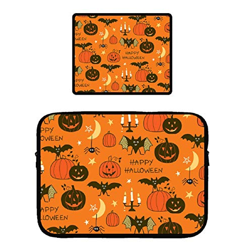 (Happy Halloween Party) Laptop Sleeve Compatible 13 Inch MacBook Pro Touch Bar A1989 & A1706 & A1708 2018 Surface Pro 2017, Dell Xps 13| Waterproof Mouse -