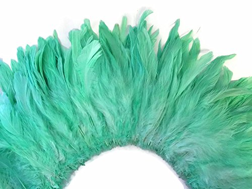 Moonlight Feather | 4 Inch Strip - Mint Green Strung Rooster Neck Hackle Feathers Carnival, Costume, Fly Tying, Wedding