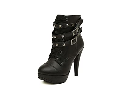 Women's Short Martin Boots Scooter Rivet High-Heeled Boots