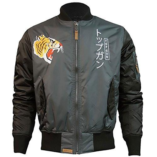 Top Gun Tiger Bomber Jacket Black Charcoal by Top Gun