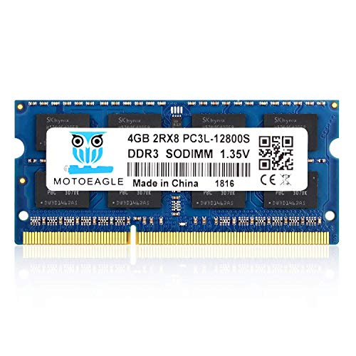 Pc12800 Ram - Motoeagle DRR3 / DDR3L 1600 MHz Laptop RAM 4GB, PC-12800 2RX8 1.35V, DDR3L 1600 SODIMM Dual Rank Module Chips Upgrade for MacBook Pro 13-inch/15-inch Mid 2012, iMac 21.5-inch Late 2012