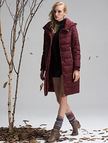 Mordenmiss Women's Long Sleeve Thicken Warm Winter Hooded Down Jacket Coat Style 4-M-Burgundy B-3-A6-1 by Mordenmiss (Image #2)