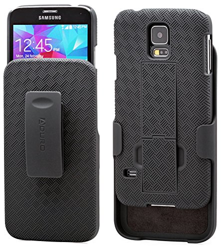 Galaxy S5 Case, Aduro COMBO Shell & Holster Case Super Slim Shell Case w/ Built-In Kickstand + Swivel Belt Clip Holster for Samsung Galaxy S5